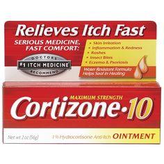 Cortizone 10 Plus Ultra Moisturizing Hydrocortisone Anti-Itch Creme, 1 oz Eczema Relief, Itch Relief, Contact Dermatitis, Eczema Psoriasis, Skin Rash, 1 Oz, Health And Beauty, The Cure