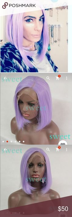 Light Purple short straight wig lace front wig Light Purple short straight wig lace front wig Heat resistant synthetic lace front wig bob silk straight hair wig Accessories Hair Accessories