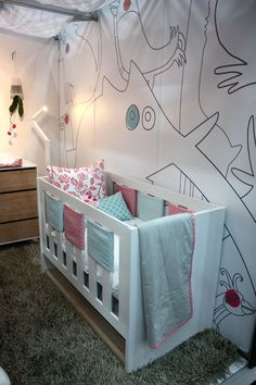 Girl Pink and Aqua Nursery Crib View
