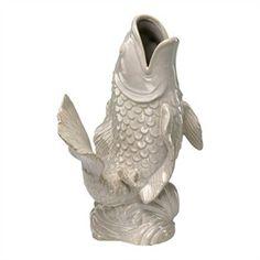 White Koi Fish Ceramic Vase