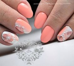 Coral manicure - fashion news and trends 2019 Manicure Nail Designs, Acrylic Nail Designs, Nail Manicure, Gel Nail Art, Nail Art Designs, Pretty Nail Designs, Pretty Nail Art, Peach Nails, Pink Nails