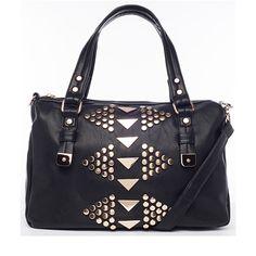 Street Level Triangle Stud Satchel Black up to 70% off | Handbags | Little Black Bag