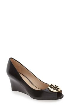 Free shipping and returns on Tory Burch 'Kara' Wedge Pump (Women) at Nordstrom.com. A gleaming Tory Burch logo medallion sits just above the peep toe of a sophisticated open-toe wedge crafted from smooth leather.