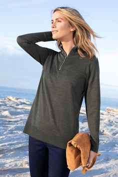 Capture Merino Half Zip Sweater at EziBuy New Zealand. Buy women's, men's and kids fashion online. Roll Neck Sweater, Ribbed Sweater, Ruffle Sleeve Dress, Half Zip Sweaters, Dress With Cardigan, Online Clothing Stores, Sweater Fashion, Activewear, Clothes