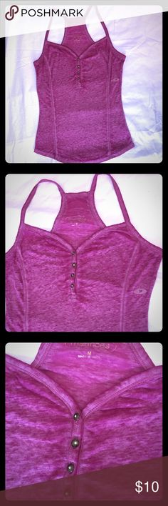 Maurice's jersey tank Maurice's jersey tank in scrumptious raspberry with brass rhinestone button detail. Soft knit with racer back and flattering princess lines. Versatile piece that can be dressed up or down. New never worn tags removed Maurices Tops Tank Tops