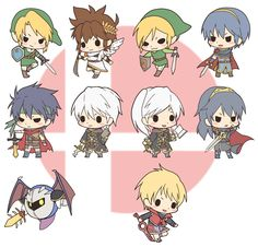 I love playing as all these characters in Super Smash Bros. -Especially Robin and Ike.