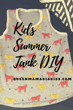 Kids summer tank easy tutorial with out pattern. #kids #summer #tank #diy #tutorial