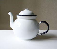 vintage teapots | vintage enamel teapot white teapot by thehopetree on Etsy