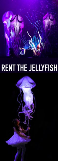 Delightful and fun. Our rental jellyfish are lightweight, compact, easy to set up and can be brought to life with a simple arm movement. We offer affordable rental packages with either 5 or 10 jellyfish that stay brightly lit for up to 5 hours per battery charge.  Use the jellyfish as stand-alone accent lighting by including our indoor floor stands or outdoor ground stakes to your rental order.