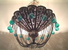 Antique Style Hand-Drilled Hand-Engraved Large Chandelier with turquoise glass balls Moroccan Chandelier, Antique Chandelier, Pendant Chandelier, Chandelier Lighting, Moroccan Art, Moroccan Style, Turquoise Glass, Turquoise Chandelier, Large Chandeliers