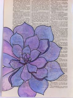 Succulent watercolor on a vintage french dictionary page. One of a kind