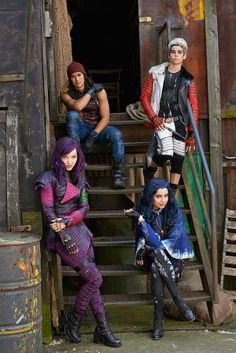 Descendants First Look Photo Shows Teen Kids Of Disney's Iconic Villains image.... wow...um, the costumes are cool...