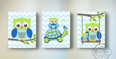 Owl Baby Nursery Canvas Prints for any boys room. This is a set of three 8 x 10 (or selected size ) Owl Canvas Prints... These prints are the reproductions of my original design . All prints are sold signed. The image wraps around the sides of the wooden frame canvas, and is ready to hang. This design adds dimension, and interest from any viewing angle. Made with high quality printing materials, and a clear coated finish to last for life time. •NO FRAME is necessary, ready to hang on any…
