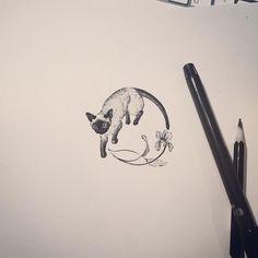 Cat & Flower by Tattooist Doy