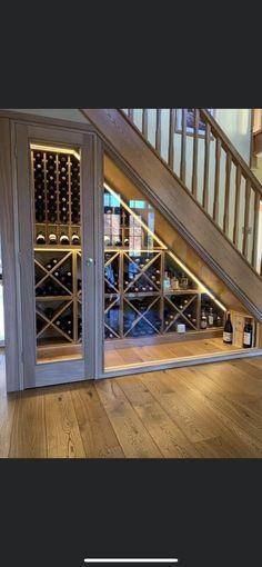 Under stairs wine cellar Storage Under Staircase, Under Stairs Nook, Closet Under Stairs, Under Staircase Ideas, Under Stairs Wine Cellar, Wine Cellar Basement, Home Wine Cellars, House Stairs, Wine Storage