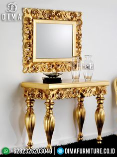 Luxury Golden Cermin Hias Meja Konsol Jepara Terbaru ST-0892 Interior Exterior, Mirror, Luxury, Furniture, Home Decor, Environment, Decoration Home, Room Decor, Mirrors