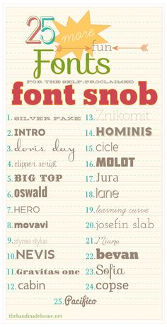 the font snob club : 25 more fun fonts {july 2012}