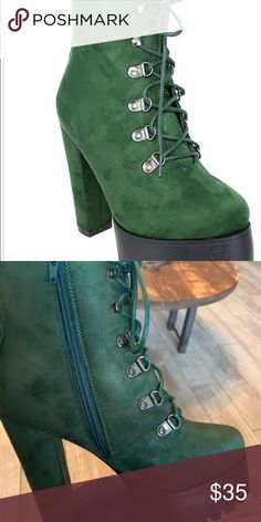 484290d15c56c1 Olive green chunky platform booties Very stylish chunky platform booties.  Zipper on the side with