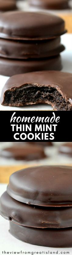 Homemade Thin Mints ~ this is the recipe you\'ve been waiting for ~ the perfect copy cat Girl Scout Thin Mint Cookie that is even better than the original! #cookies #Girlscoutcookies #copycat #mint #chocolate #mintcookies #chocolatecookies #dessert #peppermint