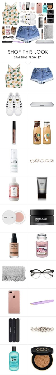 """""""Netflix and chill"""" by viviananoain ❤ liked on Polyvore featuring WithChic, adidas Originals, NYX, 100% Pure, GUESS, R+Co, Hourglass Cosmetics, Herbivore, Sephora Collection and Koh Gen Do"""