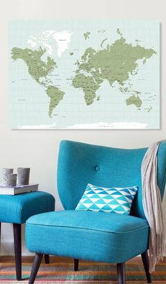 Canvas world map ready to hang canvas wrap choose size world canvas world map ready to hang canvas wrap choose size vintage green gumiabroncs Images