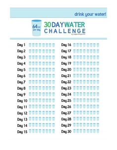 30 day water challenge fitness challenges pinterest 30th