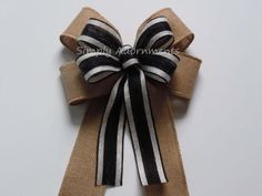 Black Rustic Burlap Bow Black Burlap Wedding by SimplyAdornmentsss