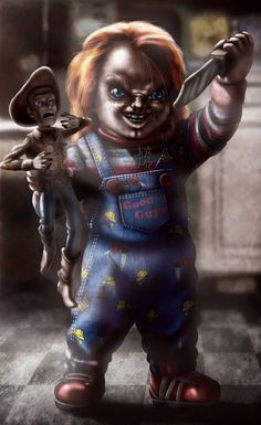 Chucky and Woody. Arte Horror, Horror Art, Horror Movie Characters, Horror Movies, Creepy Disney, Childs Play Chucky, Funny Horror, Horror Icons, Halloween Horror