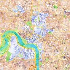 Watercolor map of Harvard Square via maps.stamen.com