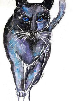 Galaxy cat #Watercolor #art #polishart #aquarelle #painting #drawing #artwork #myworks #passion #nature #galaxy #cat #wildnature #polishartist #watercolors