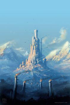 15 Ideas Fantasy Landscape Art Castles Towers For 2019 Fantasy City, Fantasy Castle, Fantasy Kunst, Fantasy Places, Sci Fi Fantasy, Fantasy World, Fantasy Art Landscapes, Fantasy Landscape, Landscape Art