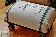 Grain Sack Foot Stool  ~~~See the details at Knick of Time