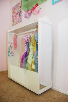 Neat way to organize dress up clothes.