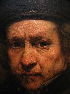 Detalle del autorretrato de Rembrandt van Rijn (1659)