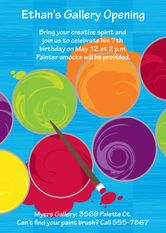 Art birthday party invitations ~ paint cans from above