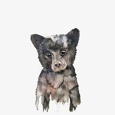 Tattoo idea: Black Bear Cub Watercolor - Laurel and Pearl Baby Bear Tattoo, Cubs Tattoo, Bear Tattoos, Bear Watercolor, Watercolor Paintings, Painting & Drawing, Black Bear Cub, Bear Art, Bear Cubs