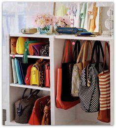 Closet Shoe Storage, Handbag Storage, Handbag Organization, Organization Ideas, Shoe Racks, Closet Shelves, Clever Closet, Bag Closet, Wardrobe Closet
