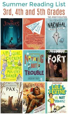 Grade Summer Reading List (Grades The Jenny Evolution is part of Summer reading lists - While I developed this as a Grade summer reading list for my youngest entering grade, it's really perfect for all kids Grades 4 and 3rd Grade Chapter Books, 5th Grade Reading, Third Grade, Writing Mentor Texts, Writing A Book, Reading Books, Writing Tips, Summer Reading Lists, Beach Reading