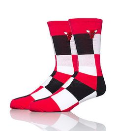 NBA Chicago Bulls basketball socks Checkered pattern throughout Stretch material Team logo embroidered on top near ankle Official NBA licensed product