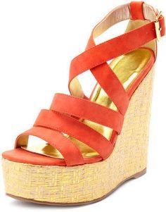 c48a38109e87e9 Orange Is the New Black! Strappy WedgesWedge SandalsMetallic WedgesCrazy  ShoesMe ...