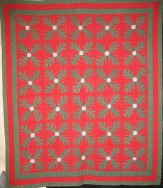 Mennonite Oak Leaves Applique Antique Quilt, PA - at Laura Fisher Quilts
