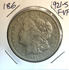 1921-S 1$ USA Morgan Silver Dollar - BEAUTIFUL!!! NO RESERVE AUCTION!! #186