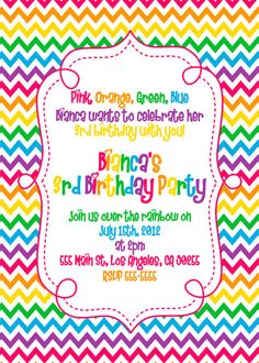 rainbow birthday invitation template free invitation card in 2018