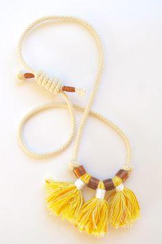SALE Cotton tassel statement necklace in yellow with by Kelaoke