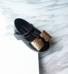 Bow Knot Sequin Shoes-High Quality, Comfort & Soft! Cute Baby Infant Toddler Little & Big Girl Mary Jane Strap Flat Gold Sparkle Sequin Shoes. Material: Pu Leather & Rubber. Color: Black & Red. Please choose your little girl size by Insole length.