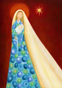 Ileana Oakley, Mary & Jesus with Star Christmas Nativity, Christmas Images, Vintage Christmas, Christmas Cards, Madonna, Christmas Drawing, Christmas Paintings, Natal Design, Nativity Painting