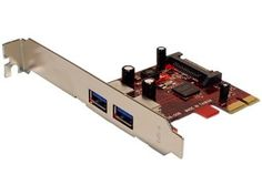 Koutech 2-Port SuperSpeed USB 3.0 PCI Express Controller Card (2xExt) with Regular and Low Profile Brackets and 15-pin SATA power connector by Koutech. $34.99. Specifications: -Fully compliant with one-lane (x1) PCI Express 2.0 specifications -Two (2) external 5Gbps SuperSpeed USB 3.0 ports -USB 3.0 complies with Intel eXtensible Host Controller Interface (xHCI) -Up to 5Gbps maximum transfer rate¹ -SuperSpeed USB 3.0 offers 10 times performance increase over Hi-Spee...