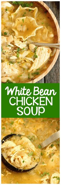 White Bean Chicken Soup White Bean Chicken Soup - A healthy comforting soup recipe filled with chicken, Great Northern beans, green chiles, and tons of flavor! It& a great recipe for dinner and for make-ahead lunches for the week! Plus, it& low-carb! Vegetarian Chicken, Chicken Soup Recipes, Healthy Soup Recipes, Great Recipes, Dinner Recipes, Vegan Recipes, Chicken Soups, Vegetarian Barbecue, Vegetarian Cooking