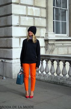 Street Style From London Fashion Week: Orange Pants and an Old Navy Jumper
