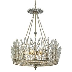 """Glamour and edgy modernity collide to form the stunning Viva Natura chandelier. A sculptural beauty, this sparkling fixture presides over dining rooms and living spaces with light-refracting crystal spears and an openwork glittering diffuser. An aged silver finish lends subtle antique vibes to this dramatic piece. 23""""W x 23""""D x 29""""H. Metal and crystal. Openwork crystal spear diffuser. Accepts six 60W candelabra bulbs."""